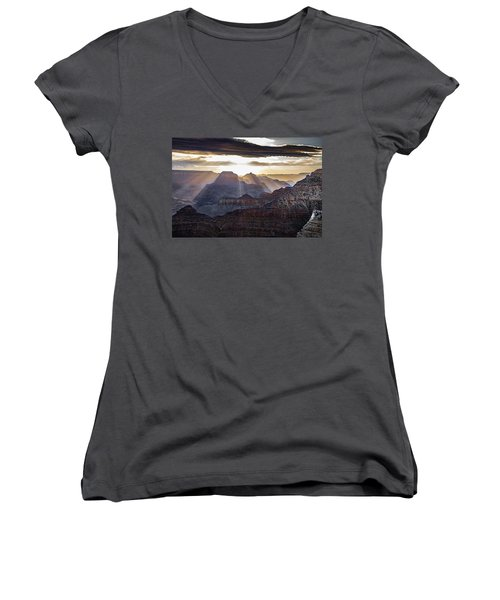 Sunrise Grand Canyon Women's V-Neck T-Shirt (Junior Cut) by Phil Abrams