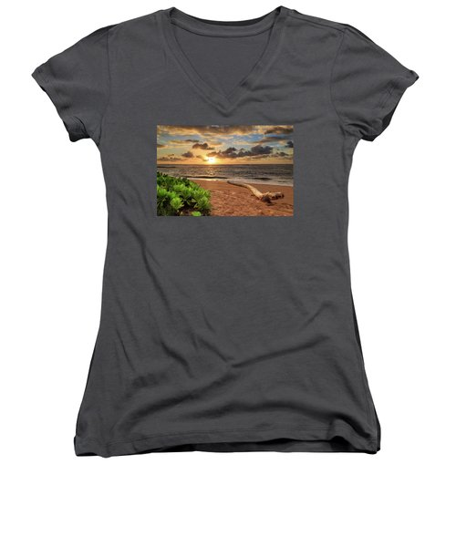 Women's V-Neck T-Shirt featuring the photograph Sunrise In Kapaa by James Eddy