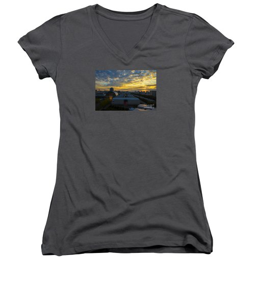 Women's V-Neck T-Shirt (Junior Cut) featuring the photograph Sunrise In Osaka by Pravine Chester