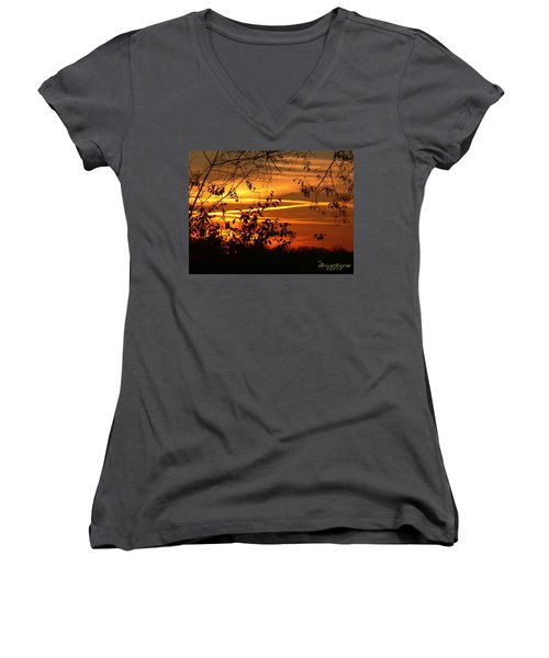 Sunrise In Tennessee Women's V-Neck T-Shirt (Junior Cut) by EricaMaxine  Price