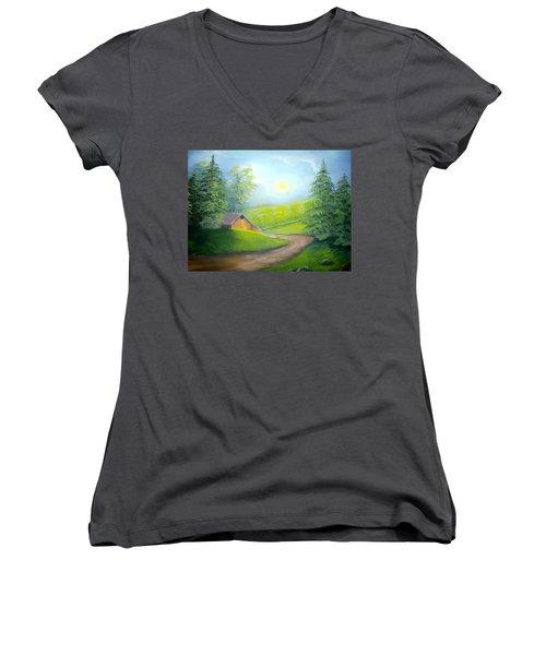 Sunrise In The Country Women's V-Neck T-Shirt