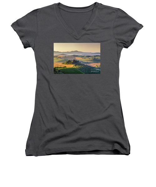 Sunrise In Tuscany Women's V-Neck T-Shirt (Junior Cut) by JR Photography