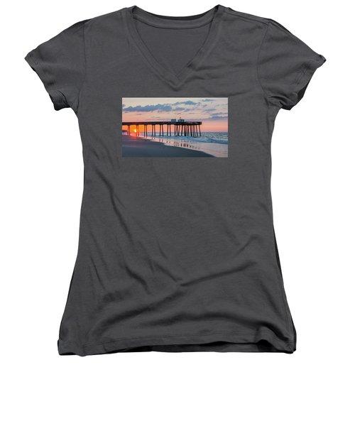 Sunrise Ocean City Fishing Pier Women's V-Neck T-Shirt