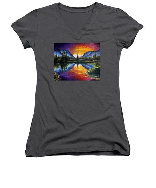 Sunrise Of Nord Women's V-Neck T-Shirt (Junior Cut) by Ruanna Sion Shadd a'Dann'l Yoder