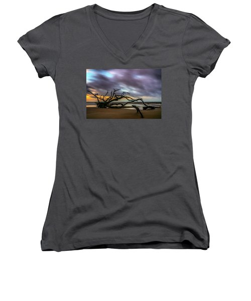 Women's V-Neck featuring the photograph Sunrise On Driftwood Beach, Jekyll Island, Ga by Michael Sussman