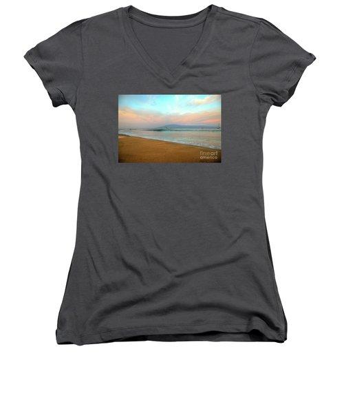 Sunrise On Ka'anapali Women's V-Neck T-Shirt (Junior Cut) by Kelly Wade