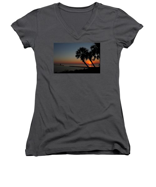 Women's V-Neck T-Shirt (Junior Cut) featuring the photograph Sunrise On Pleasure Island by Judy Vincent