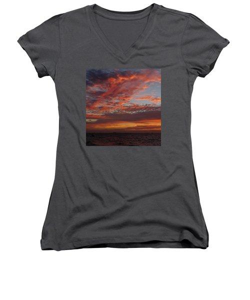 Women's V-Neck T-Shirt (Junior Cut) featuring the photograph Sunrise On Sanibel Island 2 by Melinda Saminski