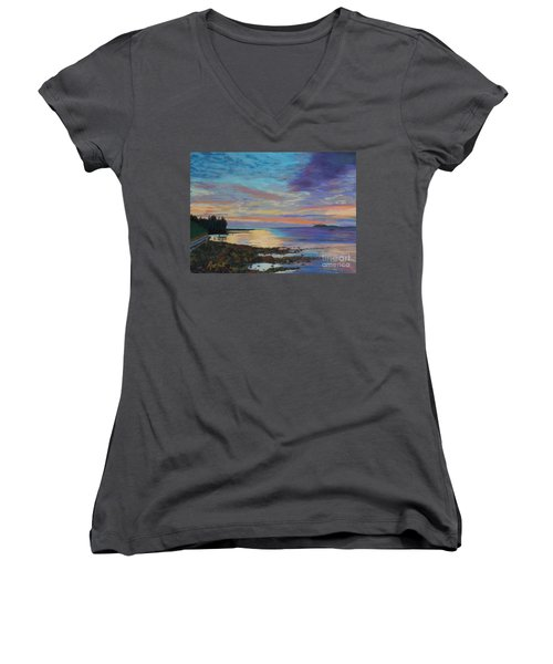 Sunrise On Tancook Island  Women's V-Neck T-Shirt (Junior Cut) by Rae  Smith PAC