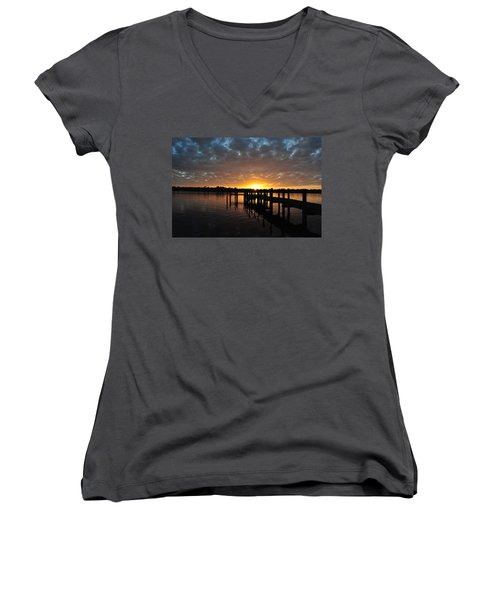 Sunrise On The Bayou Women's V-Neck T-Shirt (Junior Cut) by Michele Kaiser