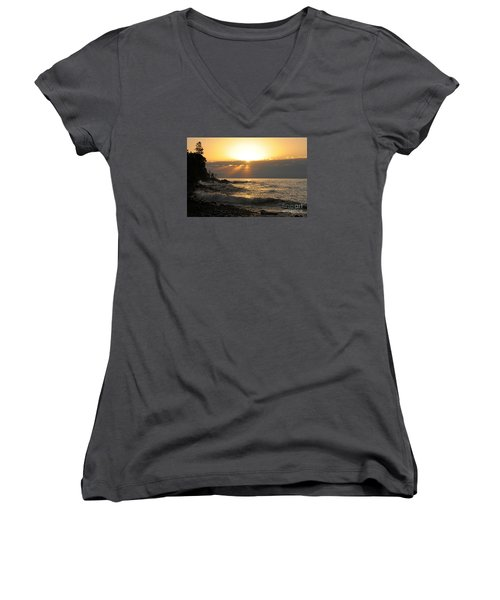 Women's V-Neck T-Shirt (Junior Cut) featuring the photograph Sunrise On The Point by Sandra Updyke