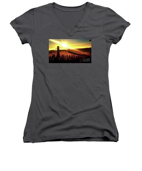 Sunrise On The Wire Women's V-Neck T-Shirt