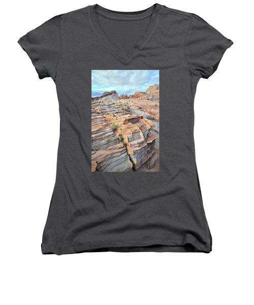 Sunrise On Valley Of Fire Women's V-Neck (Athletic Fit)