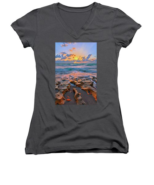 Sunrise Over Carlin Park In Jupiter Florida Women's V-Neck