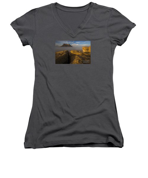Women's V-Neck T-Shirt (Junior Cut) featuring the photograph Sunrise Over Factory Butte by Keith Kapple