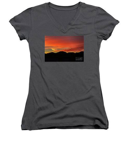 Sunrise Over Gila Mountains Women's V-Neck T-Shirt (Junior Cut) by Robert Bales