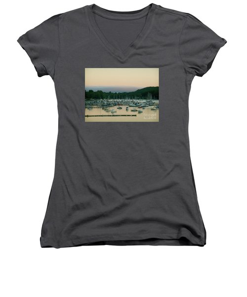 Sunrise Over Mallets Bay Variations - Three Women's V-Neck T-Shirt (Junior Cut) by Felipe Adan Lerma