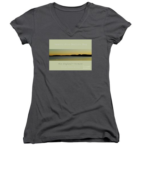 Sunrise Over Malletts Bay Greeting Card And Poster - Six V4 Women's V-Neck T-Shirt (Junior Cut) by Felipe Adan Lerma