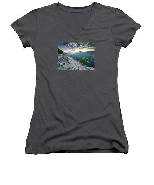Sunrise Over Tenaya Lake - Yosemite National Park Women's V-Neck T-Shirt (Junior Cut) by Brendan Reals