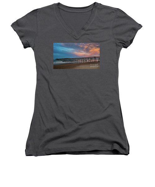 Sunset Over The Atlantic Women's V-Neck T-Shirt (Junior Cut) by Scott and Dixie Wiley