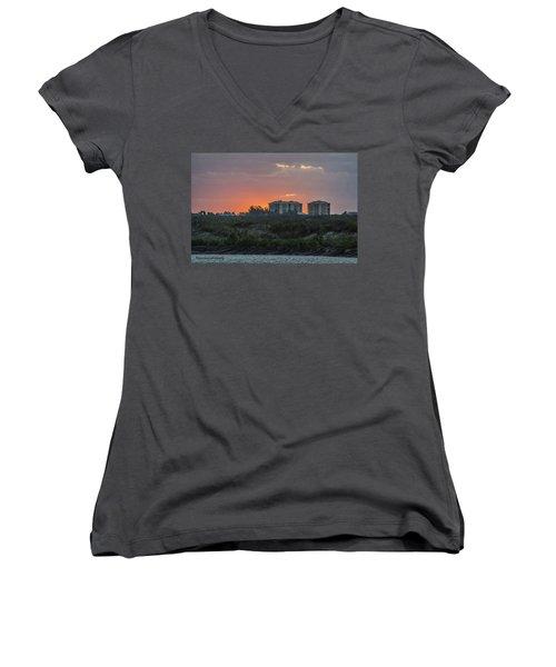 Sunrise Over The Intracoastal Women's V-Neck T-Shirt (Junior Cut) by Nance Larson
