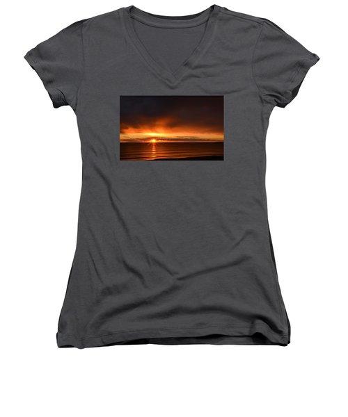 Sunrise Rays Women's V-Neck T-Shirt (Junior Cut) by Nancy Landry