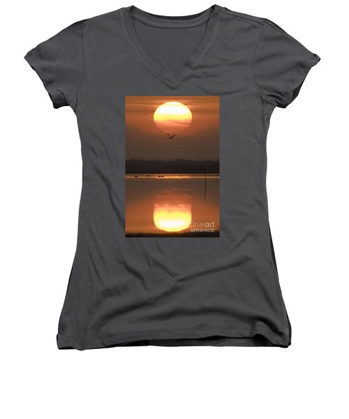 Sunrise Reflection Women's V-Neck (Athletic Fit)