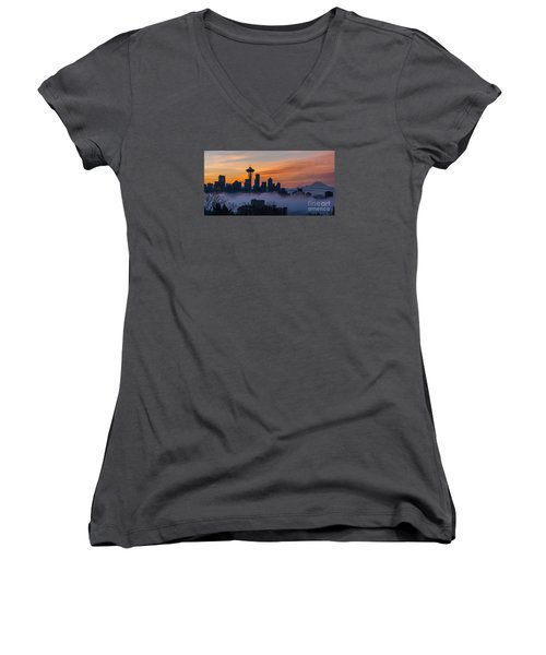 Sunrise Seattle Skyline Above The Fog Women's V-Neck T-Shirt (Junior Cut) by Mike Reid