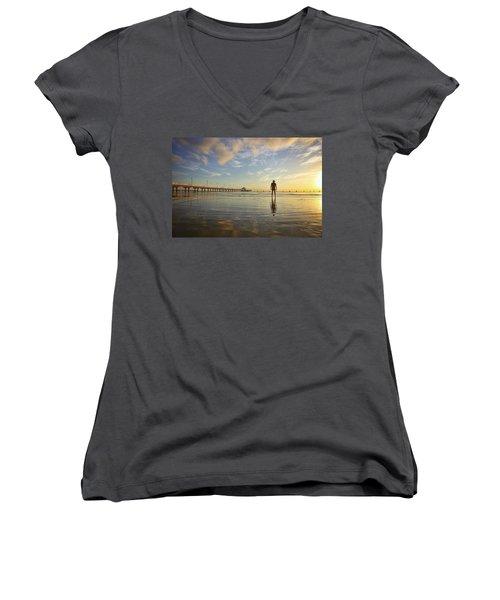 Sunrise Silhouette Down By The Pier. Women's V-Neck