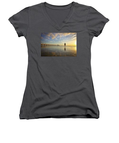 Sunrise Silhouette Down By The Pier. Women's V-Neck
