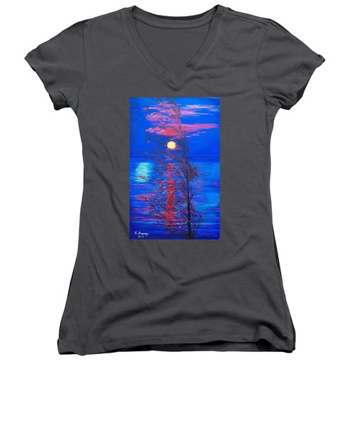Sunrise Silhouette Women's V-Neck T-Shirt (Junior Cut) by Sharon Duguay