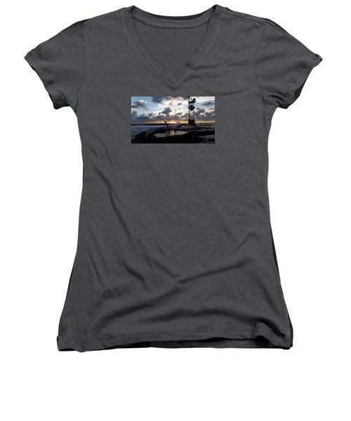 Women's V-Neck T-Shirt (Junior Cut) featuring the photograph Sunrise Splash On The Jetty by Robert Banach