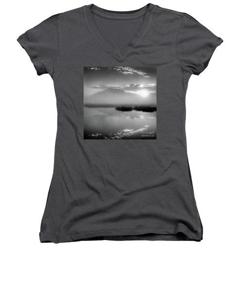 Women's V-Neck T-Shirt (Junior Cut) featuring the photograph Sunrise by Tatsuya Atarashi