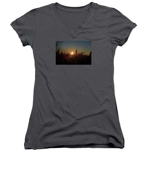 Sunrise Thru The Brush Women's V-Neck T-Shirt
