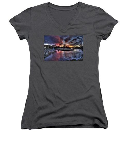 Sunrise Trestle #1 Women's V-Neck T-Shirt (Junior Cut) by Fiskr Larsen