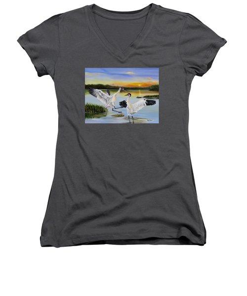 Sunrise Whooping Cranes Women's V-Neck T-Shirt (Junior Cut) by Phyllis Beiser