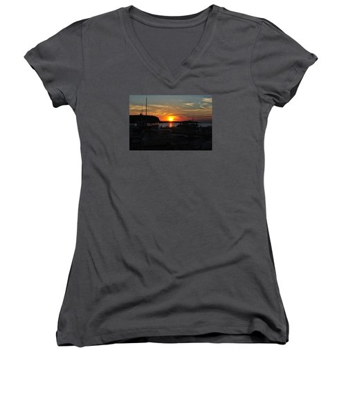 Harbor In Ephraim Women's V-Neck T-Shirt (Junior Cut) by Linda Goad