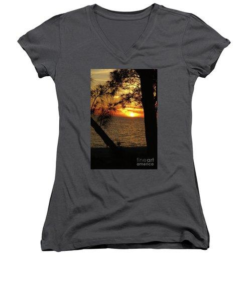 Sunset 1 Women's V-Neck T-Shirt (Junior Cut) by Megan Cohen