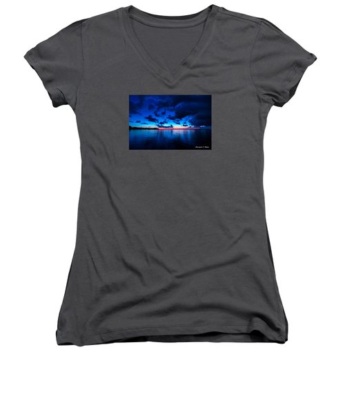 Women's V-Neck T-Shirt (Junior Cut) featuring the photograph Sunset After Glow by Christopher Holmes