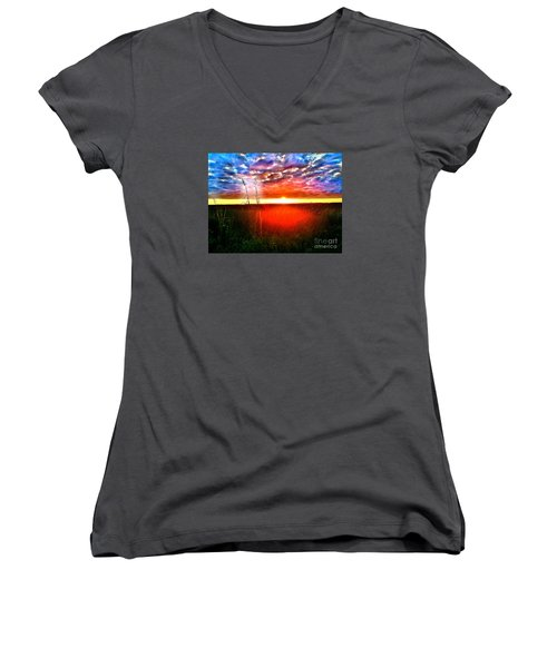 Women's V-Neck T-Shirt (Junior Cut) featuring the painting Sunset by Amy Sorrell
