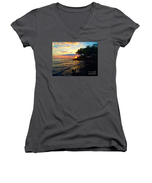 Sunset At A-bay Women's V-Neck (Athletic Fit)