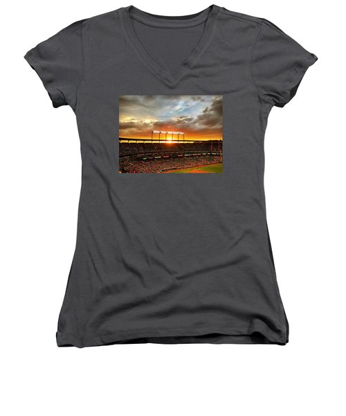 Sunset At Camden Yards Women's V-Neck (Athletic Fit)