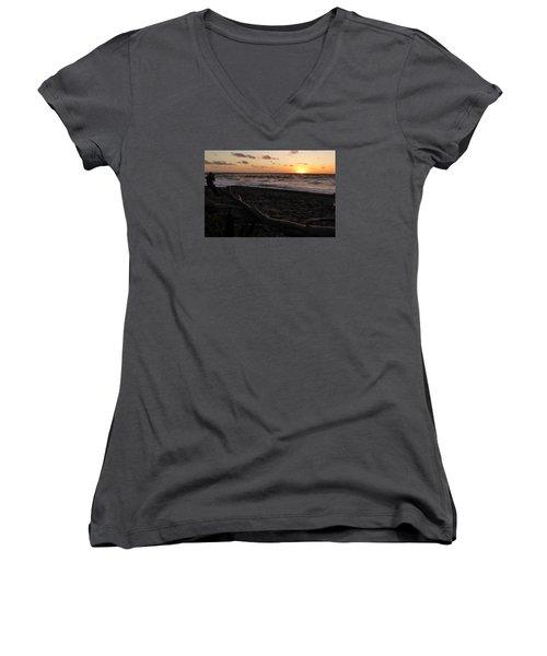 Sunset At Cap Rouge Women's V-Neck T-Shirt (Junior Cut) by Joel Deutsch