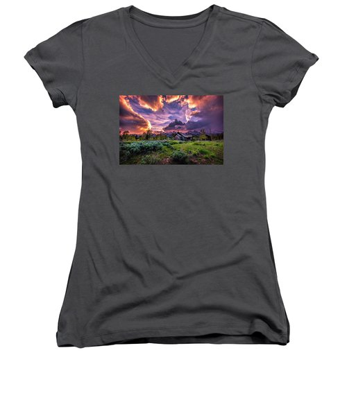 Sunset At Chapel Of Tranquility Women's V-Neck