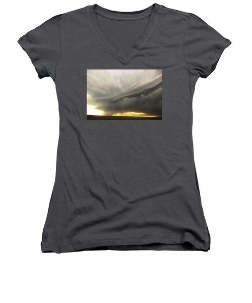 Sunset At Dalhart Texas Women's V-Neck T-Shirt (Junior Cut) by Ryan Crouse
