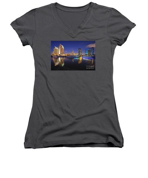Sunset At Embarcadero Marina Park In San Diego Women's V-Neck