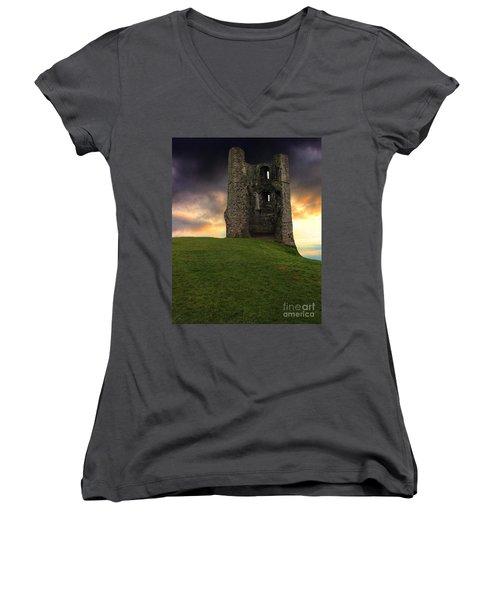 Sunset At Hadleigh Castle Women's V-Neck T-Shirt