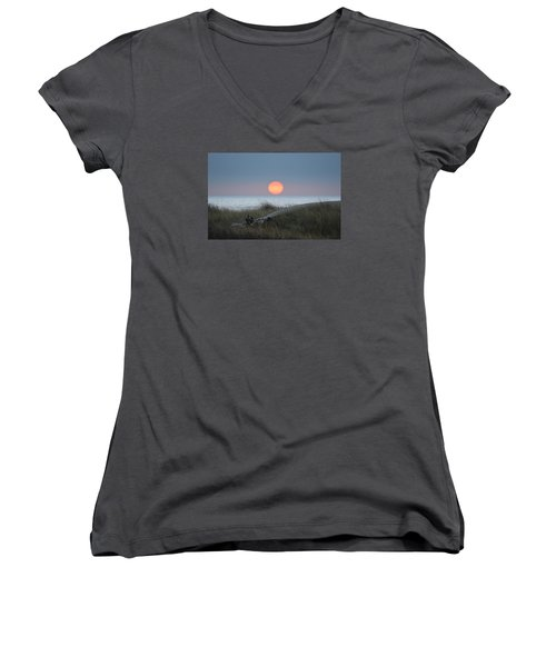 Sunset At Halfmoon Bay Women's V-Neck (Athletic Fit)