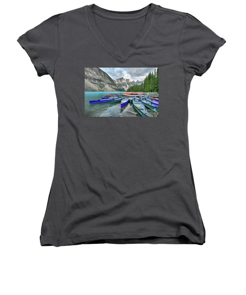 Sunset At Moraine Lake Women's V-Neck