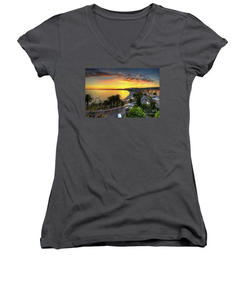 Women's V-Neck T-Shirt (Junior Cut) featuring the photograph Sunset At Nice by Yhun Suarez